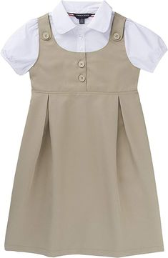 Non-functional Shoulder Tab with Button. Inverted Pleats on Front Skirt. Mock Shirt with Rounded Collar. Toddler School Uniforms, French Toast School Uniforms, School Uniform Outfits, Uniform Dress, School Dresses, School Girl Outfit, Girls Uniforms, Frocks For Girls, Little Girl Dresses