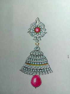 Jewelry Design Drawing, Fashion Design Drawings, Fashion Illustration Sketches, Jewelry Illustration, Jewelry Art, Fashion Jewelry, Art Drawings For Kids, Jewellery Sketches, Hand Embroidery Designs