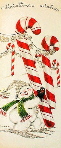 Christmas Wishes - Snowman Vintage Christmas Card