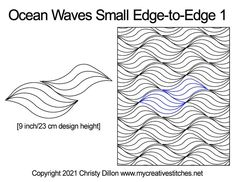 Ocean waves small edge-to-edge digital quilt pattern Ocean Waves, Quilting Designs, Quilt Patterns, Quilts, Digital, Quilt Pattern, Quilt Sets, Quilting Patterns, Log Cabin Quilts