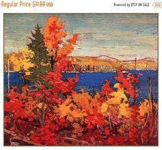 Quality print by Group Of Seven artist Tom Thomson - Autumn Foliage; Available framed, giclee canvas. Canada Landscape, Landscape Art, Landscape Paintings, Landscapes, Acrylic Paintings, Group Of Seven Art, Group Of Seven Paintings, Emily Carr, Canadian Painters