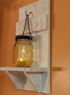 Items similar to Wedding Decor ,Mason jar Candle Holder, Country Decor, sconce candle holder, reclaimed wood candle holder. Price is for 1 each on Etsy Mason Jar Candle Holders, Rustic Candle Holders, Mason Jar Candles, Mason Jar Lamp, Diy Pallet Projects, Wood Projects, Pallet Ideas, Kids Lemonade Stands, Headboard Lamp