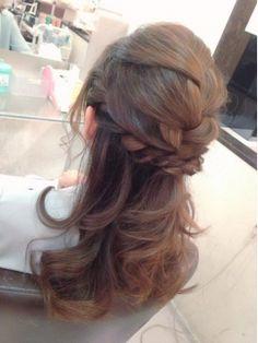 結婚式の髪型 ヘアアレンジ 編みこみハーフアップ