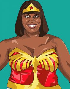 "Donna as Wonderwoman: | Simply Wonderful Illustrations Of ""Parks And Rec"" Characters As Superheroes"