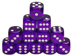 Even Dozen Clear Purple Dice with White Dots