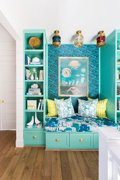 This nook was once a built-in desk but now exemplifies fun with bright colors and fun patterns. This nook was once a built-in desk but now exemplifies fun with bright colors and fun patterns. Beach Cottage Style, Beach Cottage Decor, Coastal Cottage, Coastal Decor, Coastal Style, Cottage Ideas, Coastal Living, Cottage Porch, Palm Beach Decor