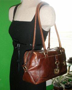 Vintage Cognac Brown Leather Etienne Aigner Purse Large Shoulder Bags 2ba556b9e1252
