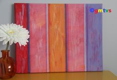 """Distressed Stripes. Abstract Art, Contemporary Painting, Acrylic Painting 11x14. """"Distressed Stripes"""" Autumn Collection. Abstract Art, Contemporary Painting, Acrylic Painting 11x14. Red, pink, orange, violet, stripes. A nice touch for your home or office. Great Christmas Gift."""