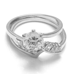 Women's Round & Tapered-Baguette Cubic Zircon Bridal Wedding Ring Set 925 Silver #adorablejewelry