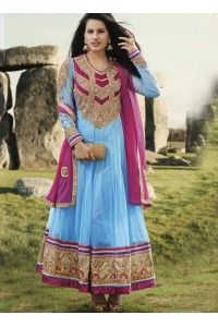 Aqua Blue Net Embroidered Pakistani Salwar Suit Price : $109.85 20% Off Eid Offer