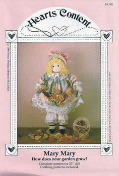 "23"" DOLL and CLOTHING SEWING PATTERN - ""Mary Mary"" - at KrissesKorner on Etsy"