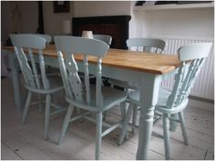 Chalk Paint Kitchen Table and Chairs White Beadboard for Amazing Kitchen Ideas with soft Blue Blue Kitchen Tables, Painted Kitchen Tables, Kitchen Table Makeover, Duck Egg Blue Kitchen Chairs, Duck Egg Blue Table, Painting Kitchen Chairs, Shabby Chic Furniture, Painted Furniture, Home Furniture