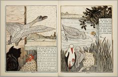 Het leelijke jonge eendje, pag. 22-3: naar het sprookje / van H. C. Andersen ; geteekend en gelithographeerd door T. van Hoytema,Amsterdam, C.M. van Gogh, 1893