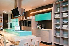 Kitchens ideas - LOVE the kitchen island. Would like counter to be poured in place concrete, corian, or maybe slate?