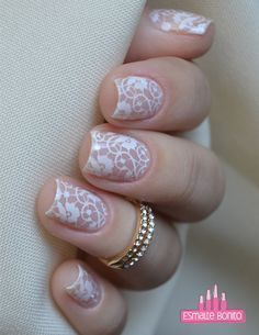 Nails Stamped White Lace # Nails # Stamped # White, 2019 - Beauty Tips & Tricks - - Nail Art Designs, Lace Nail Design, Wedding Nails Design, Lace Wedding Nails, Plum Wedding, Wedding Designs, Love Nails, Pretty Nails, Fun Nails