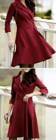 Elegant Three Quarter Sleeve #Red #Dress_________Zorket Provides Only Top Quality Products for Reasonable Prices + FREE SHIPPING Worldwide_________