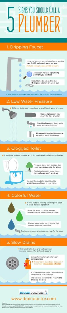 Did you know that chemical clog-busters can damage your pipes? That's why it's better to call a plumber when your home is experiencing slow drainage! Click over to this San Jose plumbing infographic to see other times you should call a plumber.