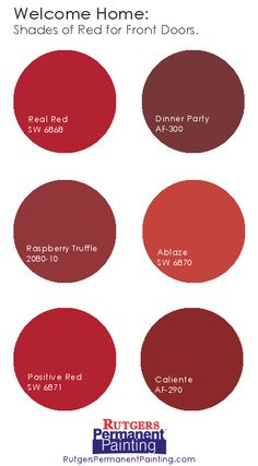 """Red is a great color for front doors. Some say it symbolizes """"welcome"""" and others say it attracts good luck and positive energy into the home. These are some shades Rutgers Painting clients have used in the past."""