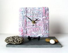 Wool Desk Clock / Small Wall Clock Marbled White by NaturalClocks, £10.00