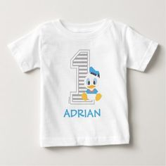 Donald Duck | Personalized First Birthday Baby T-Shirt - click/tap to personalize and buy