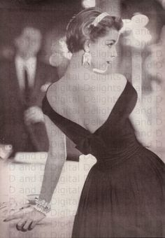 Very Glam Vintage Fashion Photo From A 1950's Vogue Magazine.