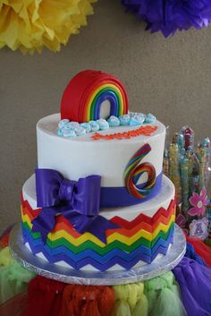 Chevron rainbow cake at a Rainbow Party.  See more party ideas at CatchMyParty.com #rainbowpartyideas