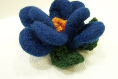 Knit Felted Wool Flower Blue by JeanieBeanHandknits on Etsy.  So cute for a scarf, a bag or a headband