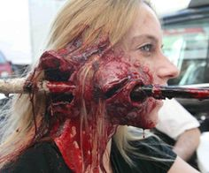SO much add on though or I would so do this for the zombie walk. Itd look fake from a straight on look but its so BEAUTIFUL at this angle! Zombie prosthetics and accessories Horror Makeup, Scary Makeup, Sfx Makeup, Costume Makeup, Face Off, Zombies, Helloween Make Up, Fantasy Make Up, Movie Makeup