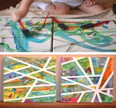 An art project kids of all ages will enjoy. Even if your little one is still a baby, this art piece is doable. Collect your colors, some tape and a sponge brush. By placing the tape over the canvas, you child can have a blast painting all over the canvas. When he/she is done, remove the tape, and you'll be left with a unique piece to hang on the wall.