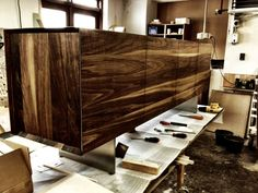 The guys are back in the carpentry after a long Christmas holiday. Here is a dk3_6 Sideboard from our friend and designer Rainer Bachschmid. #Sideboard #dk3 #Danish #Design #Furniture #Walnut www.dk3.dk