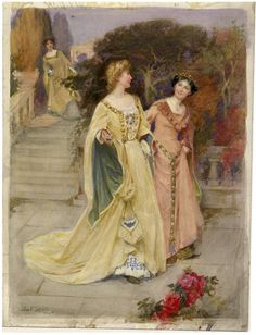 John E. Sutcliffe. Much Ado About Nothing, Act III, Scene 1. Watercolor, 1904. Folger Shakespeare Library.