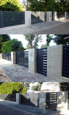 7 Nurturing Tips AND Tricks: Simple Front Fence drive through fence gate.Country Fence Garden chain link fence what to do.Concrete Fence And Gates. Fence Gate Design, Modern Fence Design, House Gate Design, Backyard Fences, Garden Fencing, Backyard Landscaping, Horse Fencing, Pool Fence, Landscaping Ideas