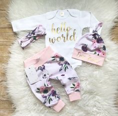 Hello World Coming Home Outfit Newborn Girl Outfit Personalized Baby Girl Outfit Photo Prop Organic Floral Outfit  Baby Shower Gift Any Name by LLPreciousCreations on Etsy https://www.etsy.com/listing/533102009/hello-world-coming-home-outfit-newborn