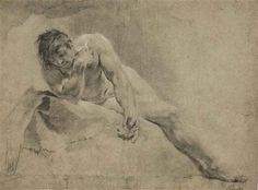 Giovanni Battista Piazzetta (Italian, 1682–1754). A reclining male nude, probably a study for Narcissus; black and white chalk, stumping, on faded blue paper, 38.5 x 51.8 cm. (15.2 x 20.4 in.)