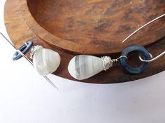 White banded opal, opal earrings, blue shell, mother of pearl, sterling silver, long earrings, opal drops by graciedot on Etsy