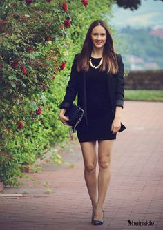 Black Lapel Long Sleeve Slim Pockets Blazer - Sheinside.com