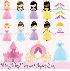 Instant Download -pretty Pretty Princesses Digital Clip Art
