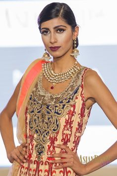 Red & Cream Bridal lengha Malika-INDIAN-PAKISTANI-WEDDING-FASHION