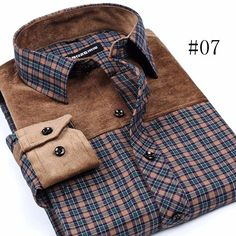Spring Autumn Fashion Casual Business Plaid Stitching Dress Shirts for Men