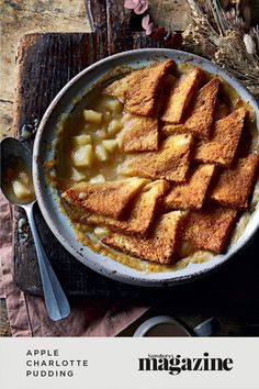 Apple Charlotte is a delicious fruity pudding usually made in a basin, then turned out. Try our easy family-friendly version which captures the flavour and textures of the original. A delicious autumnal dessert! Get the Sainsbury's magazine recipe Apple Charlotte, Charlotte Pudding, Fish Pie, Sticky Toffee Pudding, Baking Videos, Potato Skins, Party Desserts, The Dish, Mac And Cheese