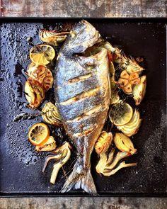 """Sea Bream with fennel & orange as part of my Jamie Magazine.- ""Sea Bream with fennel & orange as part of my Jamie Magazine… ""Sea Bream with fennel & orange as part of my - Fish Dishes, Seafood Dishes, Fish And Seafood, Fish Recipes, Seafood Recipes, Sea Bream Recipes, Roast Fish, Fish Salad, Food Design"