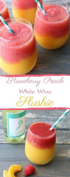 will love these strawberry peach white wine slushies - super easy to make and the perfect drink for your summer entertaining!You will love these strawberry peach white wine slushies - super easy to make and the perfect drink for your summer entertaining! Blended Drinks, Mixed Drinks With Wine, Alcohol Drink Recipes, Slushy Alcohol Drinks, Fun Summer Drinks Alcohol, Vodka Cocktails, Summer Mixed Drinks, Summer Drink Recipes, Easy Mixed Drinks