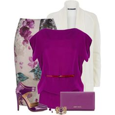 A fashion look from January 2015 featuring Antonio Berardi blouses, Vince coats y Kaliko skirts. Browse and shop related looks. Classy Outfits, Chic Outfits, Fashion Outfits, Womens Fashion, Fashion Trends, Floral Outfits, Work Fashion, Modest Fashion, Fashion Looks