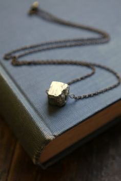 pyrite necklace geometric jewelry in statement by acommonthread, $25.00