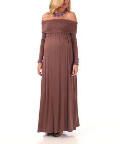 Mocha Off-Shoulder Maternity Maxi Dress - Women | zulily