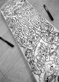 Skateboard Doodle Art by Lei Melendres, via @Behance