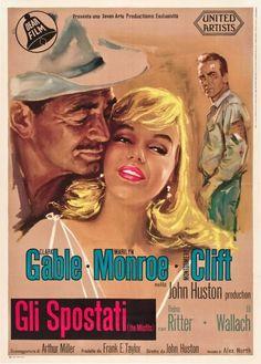 "Clark Gable, Marilyn Monroe, Montgomery Clift, ""The Misfits,"" Italian poster."