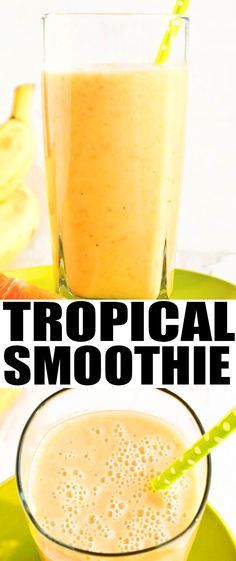 Quick and easy orange BANANA MANGO SMOOTHIE recipe that's perfect for breakfast or post-workout snack! This tropical smoothie is healthy, creamy, delicious. From cakewhiz.com #smoothie #healthy #recipes #breakfast