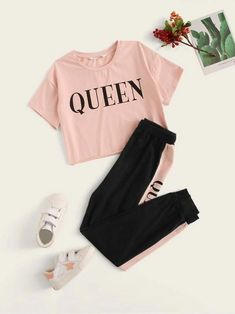 Girls Letter Print Tee And Contrast Side Sweatpants Girls Fashion Clothes, Teen Fashion Outfits, Latest Outfits, Two Piece Outfit, Cute Casual Outfits, Outfit Sets, Tops, Cotton Fabric, Dress