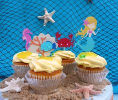 Mermaid Under the Sea Theme Party Cupcake Toppers by EMTsweeetie, $9.00